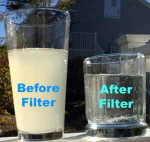 Filtered water before and after